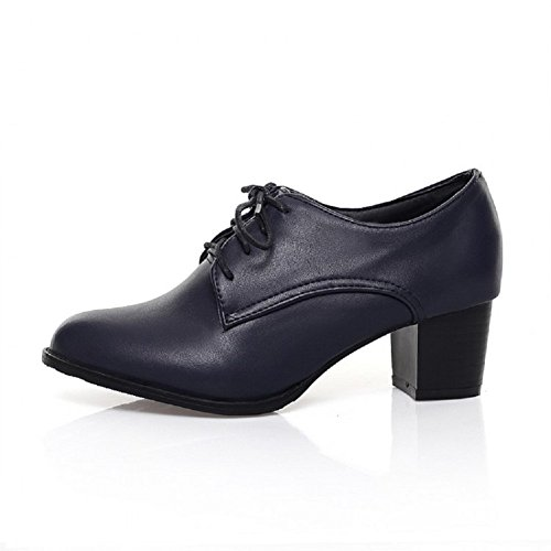 Mid Shoes Up Charm Foot Fashion Blue Lace Heel Womens Oxfords Dark pq7TIXw