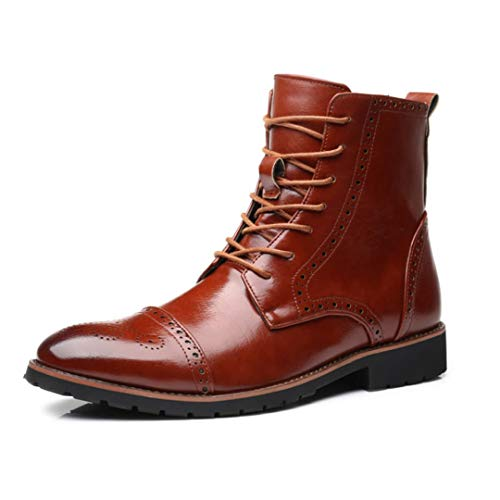 Autumn Winter Mid-Calf Ankle Boots Leather Motorcycle Boots Retro Brogue Boots Brown 9