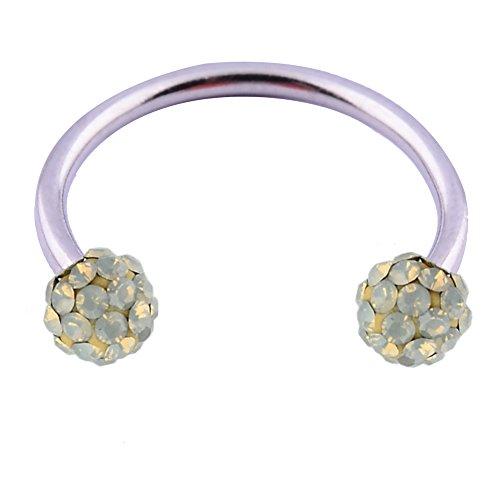 Light Grey Opal Swarovski Crystal - 14GA 1/2