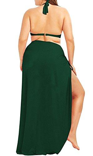 Up Army Plus Size Green Backless Spaghetti Cover Fadalo Strap Dress Long Wrap Beach wXqPUF1x