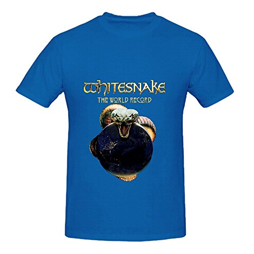 (Whitesnake Made In Britain The World Record Greatest Hits Men DTG T Shirt Blue)