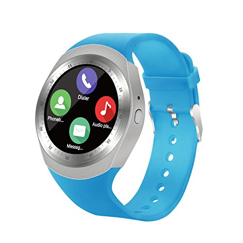 Bluetooth Smart Watch with Touch Screen Unlocked Cell Phone Wath with SIM Card Slot Waterproof Smartwatch for Android phones for Men Women Kids Boys Girls (Blue) by PQMALL