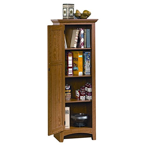 Classic 61'' Kitchen Pantry, Slat Cabinet Door, 4 Adjustable Shelves for Ample Storage Space, Sturdy and Long Lasting Engineered Wood Construction, Thick Cardboard Backing, Carolina Oak Finish