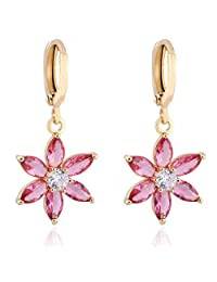 1 Pair Lady White/Colorful Flower Gold Plated Ear Studs Rhinestone Earrings Boucles D'oreilles