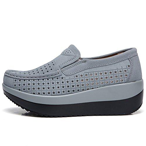Confort creux 1 Daim HKR On Gris En Conduite Mocassins Platform Mocassins 3213 De Chaussures Slip Sneakers Foncé wOqAXpT