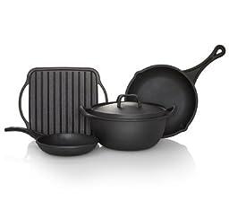 Sabatier Black Cast Iron Preseasoned Rust Resistant Cookware (5 Piece Set), Durable, Indoor, Outdoor, 5192254