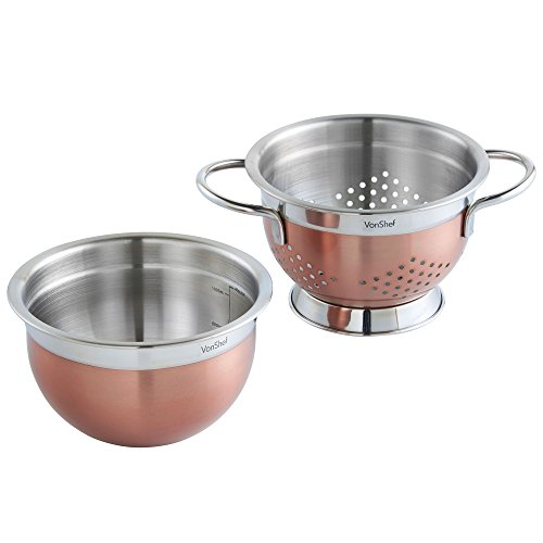 VonShef Premium 2pc Copper Stainless Steel Colander and 7 inch Mixing Bowl Set