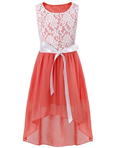 CHICTRY Big Girls' Kids' Chiffon Floral Lace High-Low Dance Prom Party Gown Flower Girl Dress with Belt Coral Pink 14