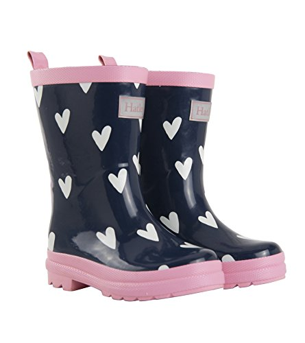 Hatley Girls' Little' Printed Rain Boot, Navy & White Hearts, 8 US Child ()