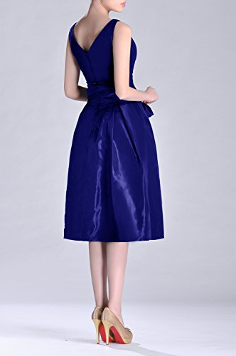 Formal Königsblau Tea Bridesmaid Length line neck bridesmaids Pleated V Modest Taffeta Dress A rqw7xrgU