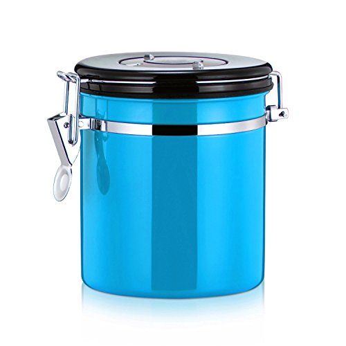 Blue Coffee Canister - MyLifeUNIT Coffee Canister, Stainless Steel Coffee Bean Container Storage Canister, 4 Colors (Blue)