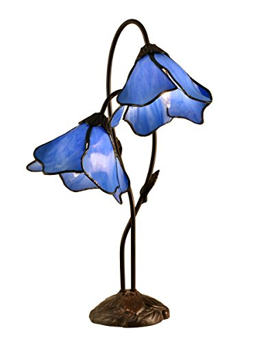 Dale Tiffany TT12147 Poelking 2-Light Blue Lily Table Lamp, 12.0