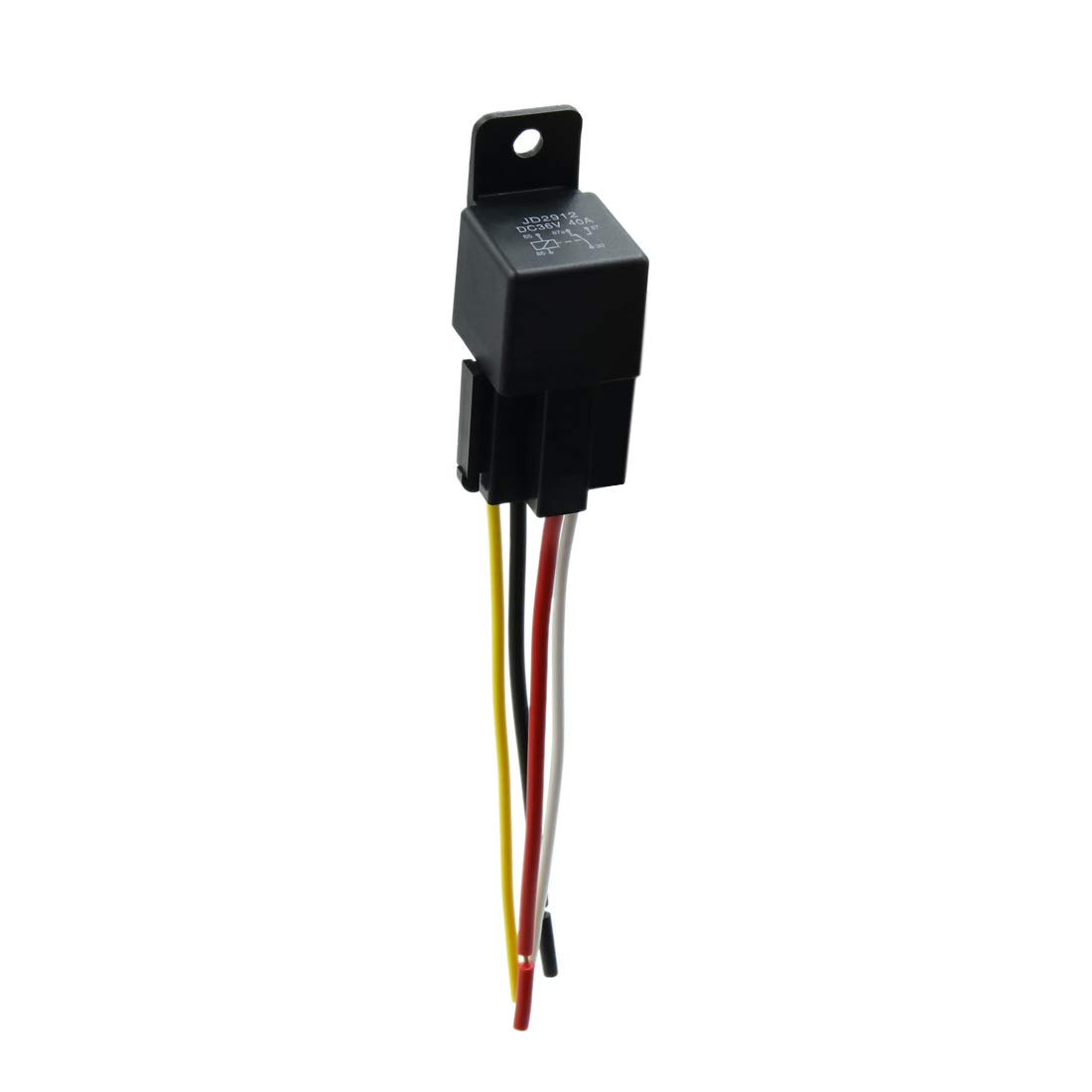 uxcell DC 36V 40A SPST Automotive Car Relay 4 Pin 4 Wires w/Harness Socket Plug