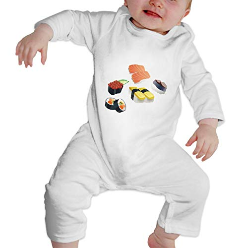 Unisex Baby I Love Sushi Long Sleeve Romper Bodysuits One Pieces White