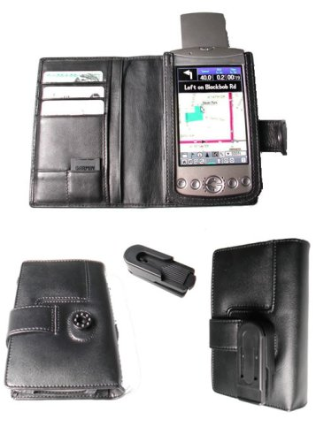 Gilsson Leather Carrying Case for Garmin iQue 3200, 3600, M5 PDA with removable belt clip
