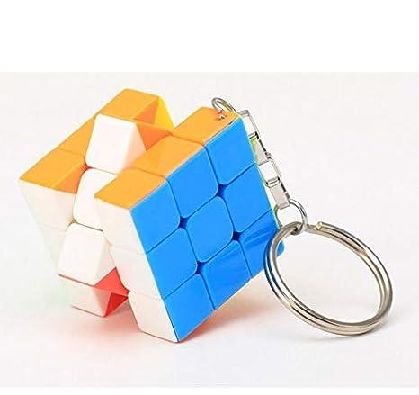 CHENFUI Regalos creativos de Tercer Orden Llavero de Cubo de Color sólido Llavero de Cubo de Rubik