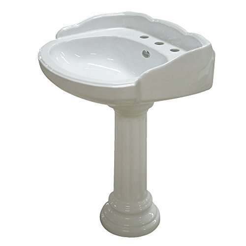 Center Pedestal Sink (Kingston Brass Georgian White China Wall Mount Pedestal Bathroom Sink with 8
