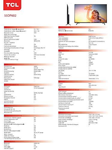 TCL 55DP602, Televisor de 55 pulgadas, Smart TV con UHD 4K, HDR, Dolby Digital Plus, T-Cast y sintonizador Triple, Color Negro: Amazon.es: Electrónica