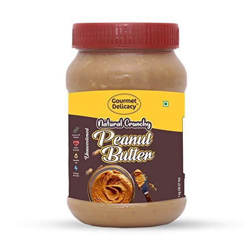 Gourmet Delicacy All Natural Crunchy Peanut Butter (Unsweetened, Gluten Free, Vegan), 1 kg