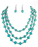 Fashion Jewelry ~Blue Acrylic Stones Layer Silvertone Necklace and Earrings Set (BS9184 UR)