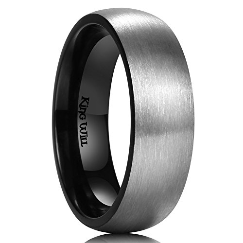 King Will Basic 7mm Titanium Ring Brushed Black Plated Comfort Fit Wedding Band for Men (9) by King Will