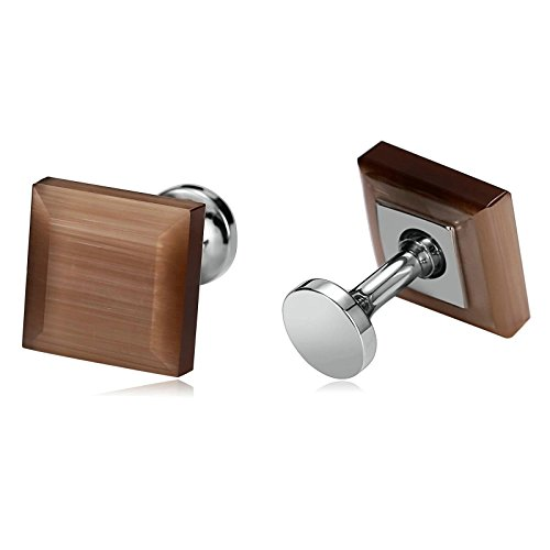 Daesar Jewelry Stainless Steel Cufflinks for Men Silver Tone Square Light Brown Crystal Cufflink ()