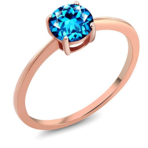 10K Rose Gold Ring Set with Round Kashmir Blue Topaz from Swarovski (Kashmir Stone)