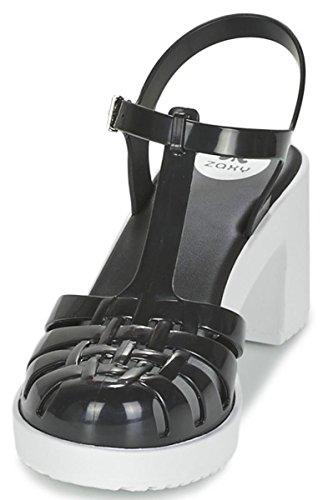 Zaxy Dream Heel Schwarz Weiß Frauen Block Sandaletten