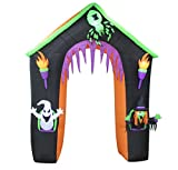 BZB Goods 9 Foot Tall Lighted Halloween Inflatable Castle Haunted House Archway with Ghost Witch Spider Lights Blowup Party Decoration for Outdoor Indoor Home Garden Yard Prop