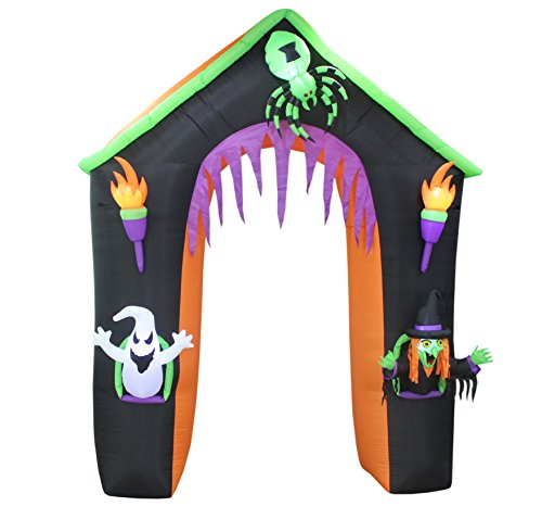 BZB Goods 9 Foot Tall LED Lighted Halloween Inflatable Castle Haunted House Archway with Ghost Witch Spider Lights Blowup Party Decoration for Outdoor Indoor Home Garden Yard Prop