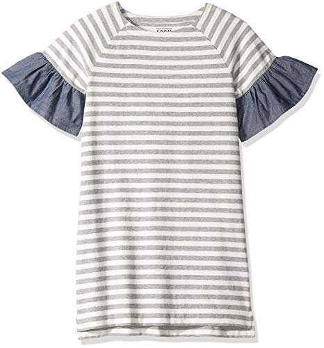 LOOK by Crewcuts Girls' Flare Sleeve Dress, Grey/White Stripe, Large (10) - Kids Flare