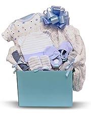Newborn Baby Boy - Small, Blue Gift Basket with Cotton Pajamas, Swaddling Blanket, Socks, 4 Washcloths, Non-Scratch Mittens, Hat - Expecting Moms, Parent, Infants - by Pellatt Cornucopia