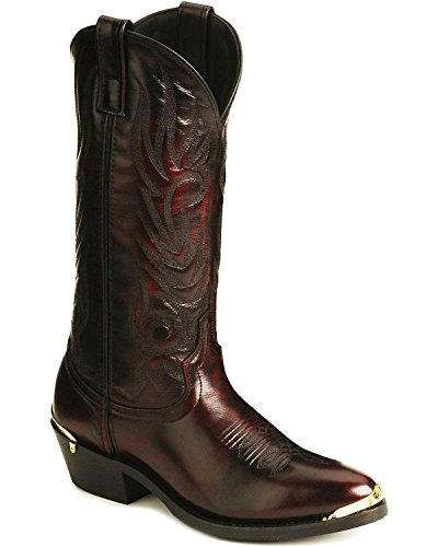 erry Leather McComb R Toe 13in Cowboy Boots 11 D (Black Cherry Leather)