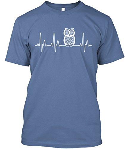 OWL Heartbeat Tshirt M Denim Blue Hanes Tagless Tee