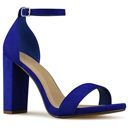 High Strappy Blue Heel Formal Simple Electric Chunky Block Pump Classic Party Standard Women's Premier Premier Wedding nEY0CwXXq