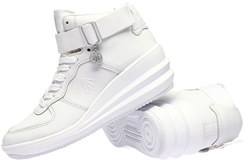 Paperplanes-1334 Femmes Fashion Tall Up Cheville Sangle Haut Sneakers Chaussures Blanc