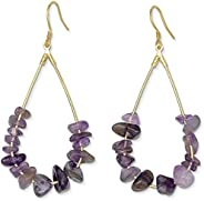 Purple Earrings Amethyst Earrings | 14k Gold Dipped Purple Teardrop Earrings For Women | Hypoallergenic Gold E