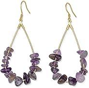 Purple Earrings Amethyst Earrings | 14k Gold Dipped Purple Teardrop Earrings For Women | Hypoallergenic Gold E
