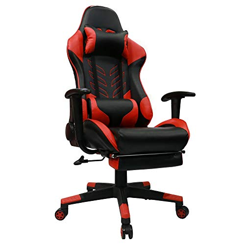 Kinsal Gaming Chair with Footrest Racing Style High-Back PU Leather Office Chair Computer Desk Chair Executive and Ergonomic Style Swivel Chair Including Headrest and Massage Lumbar Support (red) Kinsal