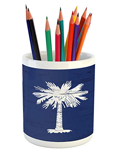 (Lunarable South Carolina Pencil Pen Holder, Palm Tree Moon State Flags Pattern on Indigo Toned Background, Printed Ceramic Pencil Pen Holder for Desk Office Accessory, Dark Lavender and Coconut)