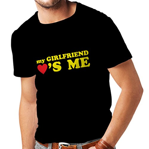 T Shirts for Men My Girlfriend Loves me! Boyfriend Gifts for St. Valentine (X-Large Black Yellow)