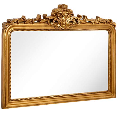 - Hamilton Hills Top Gold Baroque Wall Mirror | Rich Old World Feel Framed Beveled Elegant Glass Mirror | Horizontal Rectangle Entryway Bathroom or Powder Room (40