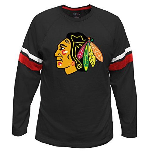 Chicago Blackhawks Long Sleeve Shirt - NHL Chicago Blackhawks Long Sleeve Tee with Double Arm Stripes, Large, Red