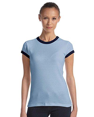 Baby Blue Ringer T-shirt - Bella + Canvas 5.8 oz., 1x1 Baby Rib Ringer T-Shirt (1007) -BABY BLUE/ -2XL