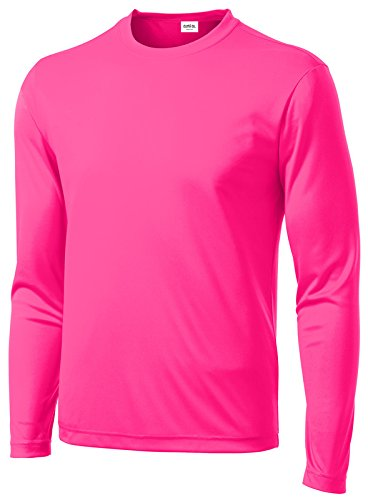 (Clothe Co. Mens Long Sleeve Moisture Wicking Athletic Sport Training T-Shirt, L, Neon Pink)