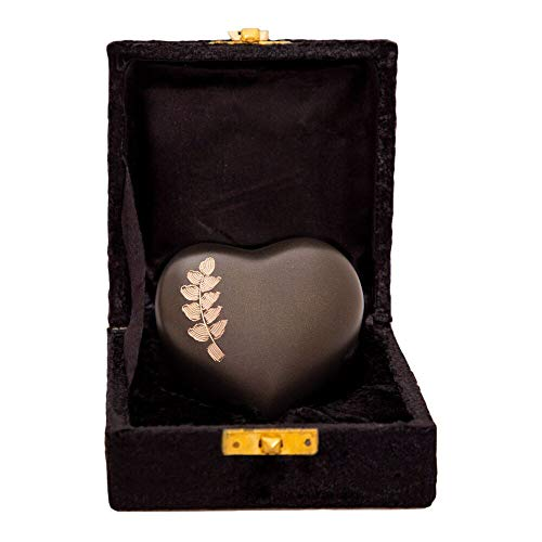 Brown Heart Keepsake Urn – Mini Ash Urn with Free Premium Velvet Box Display Stand – Small Handcrafted Cremation Urn for Ashes – Tribute to Your Loved One – Perfect for Adults Infants