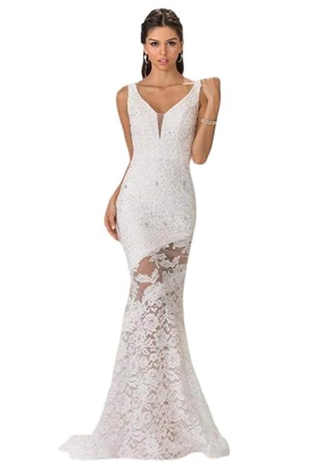 Elizabeth K Bridal - GL2249 Sleeveless Lace Long Dress at Amazon Women s  Clothing store  38f5ba883