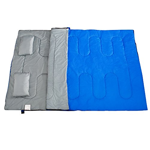 Mounchain 3-4 Season Double Sleeping Bag Queen Size with 2 Pillows Fits Adults Teens, 2 Person Waterproof Damp-Proof Sleeping Bag for Camping, Backpacking, Hiking, Climbing Outdoor Activities