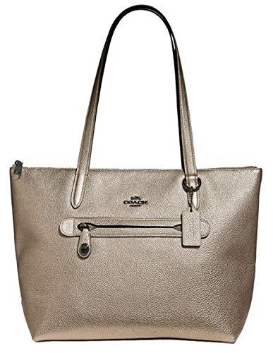 (Coach Women's Taylor Pebble Leather Metallic Tote Platinum/Silver )
