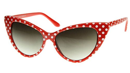 AStyles - Super Cateyes Vintage Inspired Pointed Cat Eye Polka Dot Sunglasses Glasses (Polka Dot Red, - Sunglasses Cat Kitty